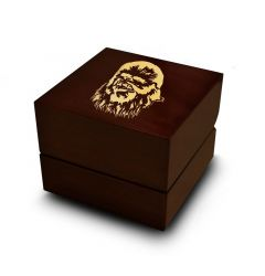 Star Wars Chewbacca Print Engraved Wood Ring Box Chocolate Dark Wood Personalized Wooden Wedding Ring Box