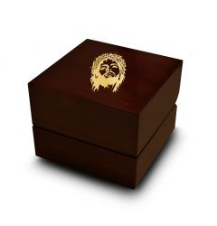 Crown of Thorns Jesus Symbol Engraved Wood Ring Box Chocolate Dark Wood Personalized Wooden Wedding Ring Box