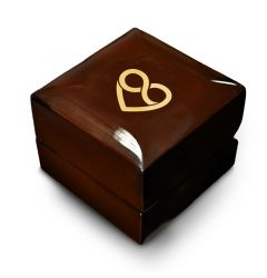 Combined Heart and Infinity Symbol Engraved Wood Ring Box Chocolate Dark Wood Personalized Wooden Wedding Ring Box