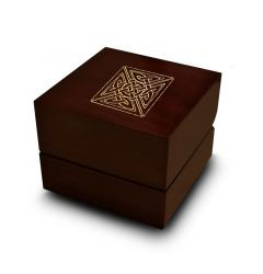 Intricate Celtic Knot Engraved Wood Ring Box Chocolate Dark Wood Personalized Wooden Wedding Ring Box