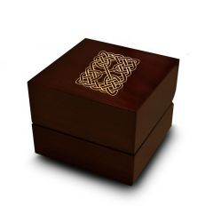 Square Celtic Knot Engraved Wood Ring Box Chocolate Dark Wood Personalized Wooden Wedding Ring Box