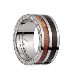 Titanium Wedding Band With Pink Ivory/Ebony Wood 2?Tone Inlay, Polished Edges, & Side Pattern - 10mm
