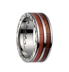 Titanium Wedding Band With Pink Ivory 2?Tone Inlay, Polished Edges, & Side Pattern - 7mm