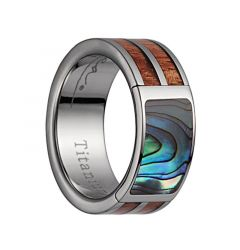 Titanium Wedding Band With Pink Ivory Wood/Abalone Inlay & Polished Edges - 8mm