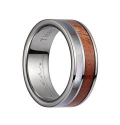 Titanium Wedding Band With Polished Edges & Pink Ivory Wood/Mother of Pearl Inlay - 8mm
