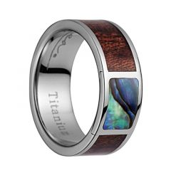 Titanium Wedding Band With Koa Wood/Abalone Inlay & Polished Edges - 8mm