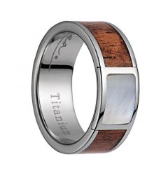 Titanium Wedding Band With Pink Ivory Wood/Mother of Pearl Inlay & Polished Edges - 8mm