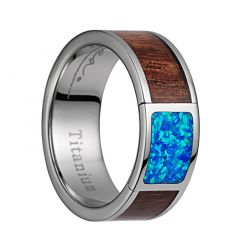 Titanium Wedding Band With Polished Edges & Pink Ivory Wood/Opal Inlay - 8mm
