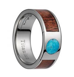 Titanium Wedding Band With Pink Ivory Wood/Turquoise Inlay & Polished Edges - 8mm