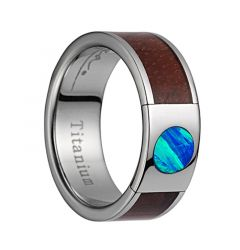 Titanium Wedding Band With Pink Ivory Wood/Opal Inlay & Polished Edges - 8mm