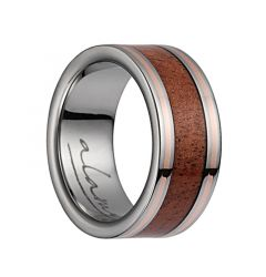Titanium Flat Wedding Ring With Pink Ivory Inlay & Rose Gold Lining - 8mm