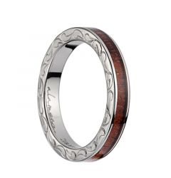 Titanium Wedding Ring With Pink Ivory Inlay, Polished Edges, & Side Pattern - 3mm