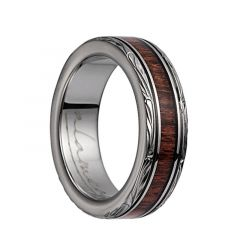 Titanium Domed Wedding Band With Pink Ivory Inlay & Leaf Designed Edges - 6mm - 10mm