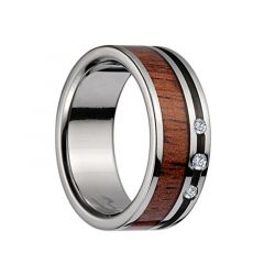 Titanium Wedding Band With Pink Ivory Inlay, Polished Edges, & 3 Diamond Setting - 8mm