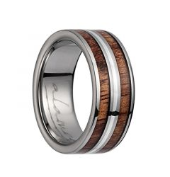 Titanium Flat Wedding Ring With Pink Ivory Inlay, Polished Edges, & Middle Silver Lining - 8mm