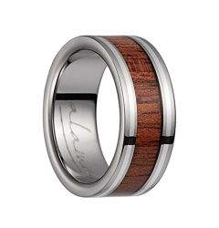 Titanium Flat Wedding Band With Pink Ivory Inlay & Silver Lining - 8mm & 10mm