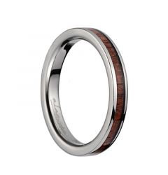 Titanium Wedding Ring With Pink Ivory Inlay & Polished Edges - 3mm