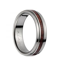 Titanium Polished Wedding Band With Pink Ivory Inlay & Stepped Edges - 6mm & 8mm