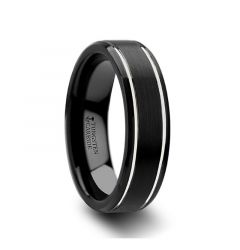 NOCTURNE Black Beveled Tungsten Carbide Band with Polished Grooves and Brushed Finish - 6mm or 8mm