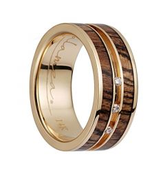 14K Yellow Gold Flat Wedding Band With Bocote Wood Inlay & 3 Diamond Setting - 8mm