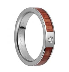14K White Gold Flat Wedding Band With Tulip Wood Inlay & 1 Diamond Setting - 4mm