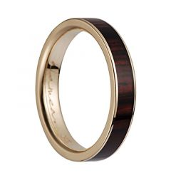 14K Yellow Gold Flat Wedding Ring With Cocobolo Wood Inlay - 4mm & 8mm