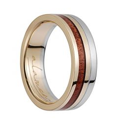14K Yellow Gold & White Gold Flat Wedding Ring With Koa Wood Inlay - 6mm