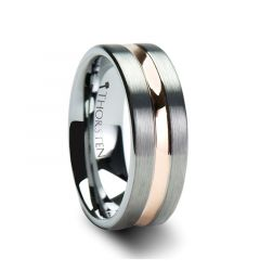 ZEUS Flat Brushed Finish Tungsten Carbide Ring with Rose Gold Plated Groove - 4mm - 10mm