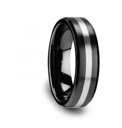 PHOENIX Brushed Black Ceramic Ring with Beveled Edges and Tungsten Inlay - 6mm or 8mm