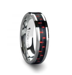 AURELIUS Tungsten Band Inlaid with a Black & Red Carbon Fiber Ring - 6mm & 8mm