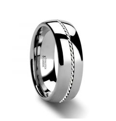 BALDWYN Braided Palladium 950 Inlay Domed Tungsten Ring - 6mm or 8mm