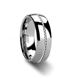 PHYTHEON Braided Platinum Inlay Domed Tungsten Ring - 6mm or 8mm
