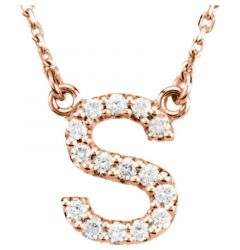 "14kt Rose Gold Letter ""S"" 1/6 CTW Diamond Necklace"