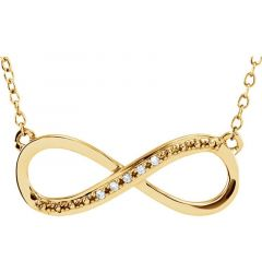14kt Yellow Gold .06 CTW Diamond Infinity Necklace