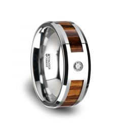 SABER Tungsten Carbide Diamond Ring with Beveled Edges and Real Zebra Wood Inlay - 8mm