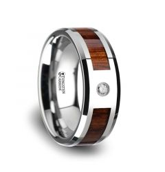 KAHUNA Tungsten Carbide Beveled Edged Diamond Wedding Band With Koa Wood Inlay & Polished Edges - 8mm