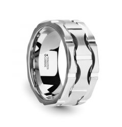 KANYE White Tungsten Carbide Wedding Band with Crescent Pattern and Brushed Finish - 10mm