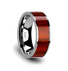 CLAYMORE Flat Tungsten Carbide Band with Exotic Padauk Wood Inlay and Polished Edges - 8mm