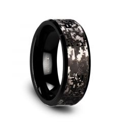 SMOKESCREEN Black Tungsten Carbide Wedding Ring with Engraved Digital Camouflage - 8mm