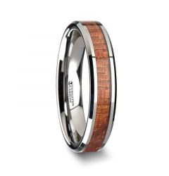 KHAYA Tungsten Band with Polished Bevels and Real Hardwood Mahogany Inlay - 4mm