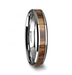 PALMALETTO Tungsten Carbide Ring with Beveled Edges and Real Zebra Wood Inlay - 4mm
