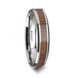 KONA Koa Wood Inlaid Tungsten Carbide Ring with Bevels - 4mm