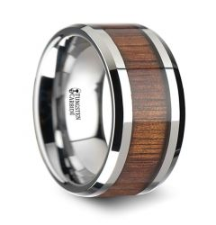 KONA Koa Wood Inlaid Tungsten Carbide Ring with Bevels - 12mm