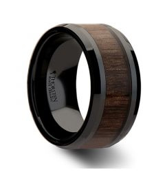 YUKON Beveled Black Ceramic Wedding Band with Black Walnut Wood Inlay - 4mm - 12mm