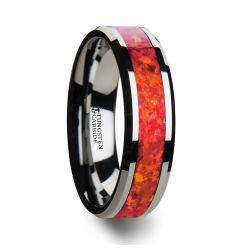 NEBULA Tungsten Wedding Band with Beveled Edges and Red Opal Inlay - 4mm