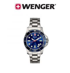Wenger® Ladies Battalion III Diver Watch with Blue Dial and Bezel