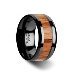 OBLIVION Red Oak Wood Inlaid Black Ceramic Ring with Bevels - 10mm
