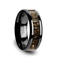 SILURIAN Dinosaur Bone Inlaid Black Ceramic Beveled Edged Ring - 4mm or 8mm