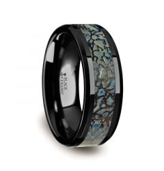 PERMIAN Blue Dinosaur Bone Inlaid Black Ceramic Beveled Edged Ring - 4mm or 8mm