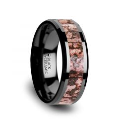 CAMBRIAN Pink Dinosaur Bone Inlaid Black Ceramic Beveled Edged Ring - 4mm & 8mm